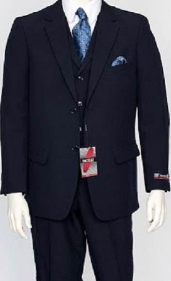 Mens Navy Dress Notch Lapel Single Breasted Vested  Suit, act now only $159.00