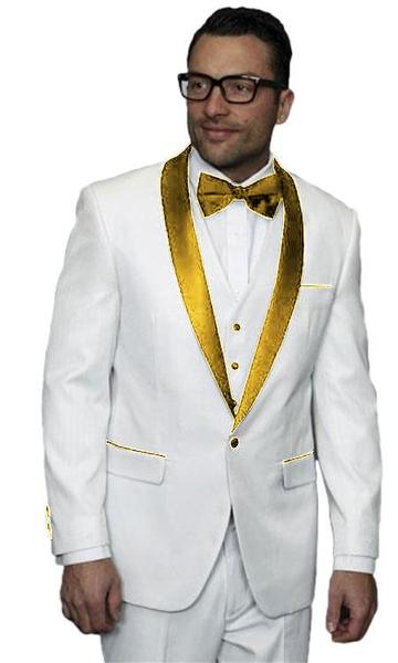 One Button White and Gold Alberto Nardoni  Mens Tuxedo, act now only $300.00