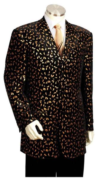 Black and Gold Two Piece Long Zoot Suit For Mens, act now only $175.00