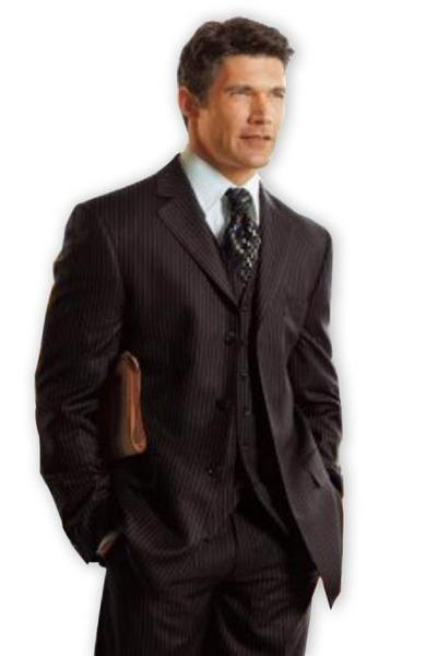 Mens Black Two Button Style Pinstripe Three Piece Suit, act now only $175.00
