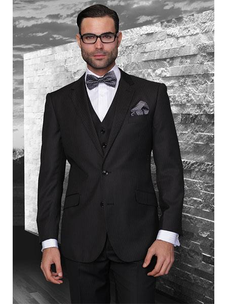 Mens Black Two Button Liquid Jet  Flat Front three piece suit, act now only $165.00