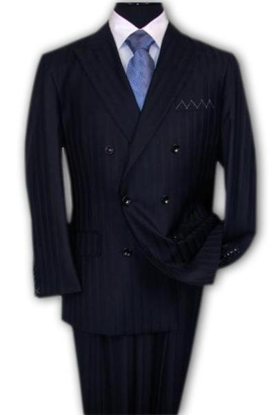 Navy Blue Shadow Stripe Double breasted Mens Suit, act now only $195.00