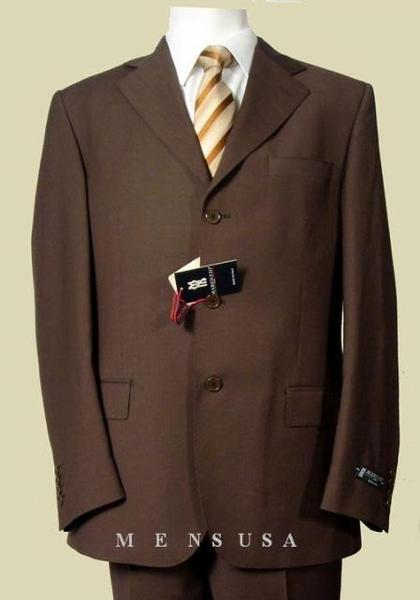 Dark Brown Three Button Superior Mens Fabric Suit, act now only $175.00