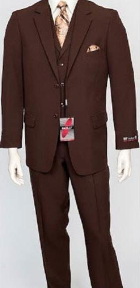 Mens Brown Dress Single Breasted Vest Suit, act now only $159.00
