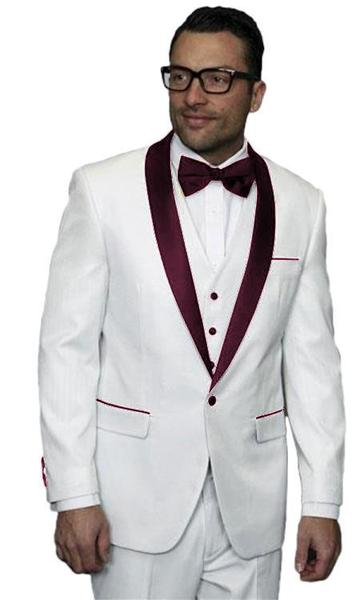 One Button White and Burgundy Alberto Nardoni Mens Suit, act now only $300.00