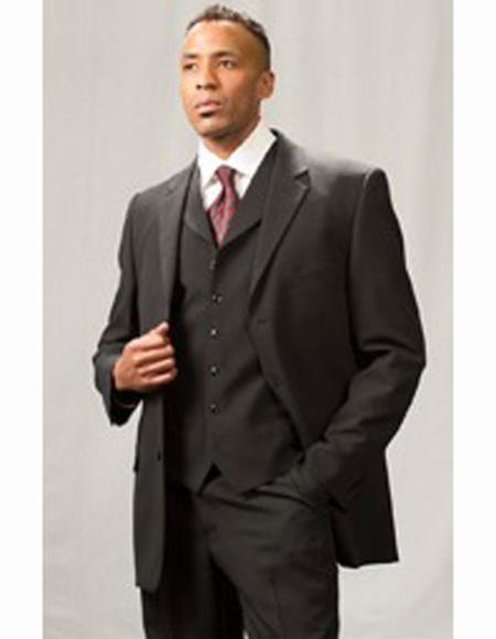 Mens Notch Lapel Matching Vest Black Three Piece Suit, act now only $159.00