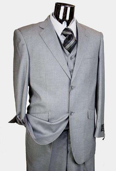 Two Button Style Light Grey  Mens Italian Suit, act now only $199.00