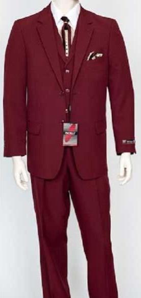 Mens Burgundy Classic Fit Single Breasted Three Piece Suit, act now only $159.00