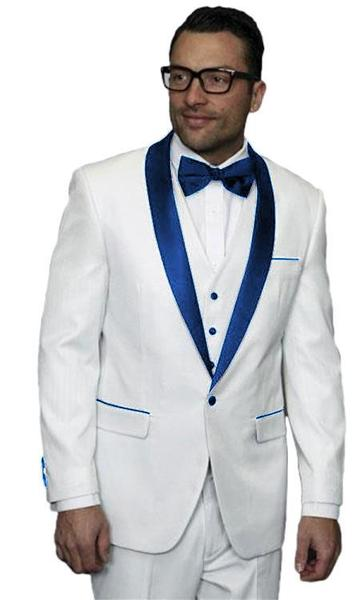 One Button White Dark Navy Blue Shawl Lapel Mens Suit, act now only $300.00