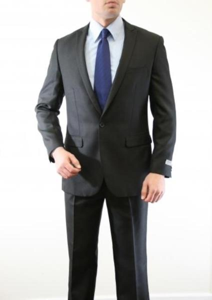 One Button Black Two Piece Slim Fit Mens Suit, act now only $150.00