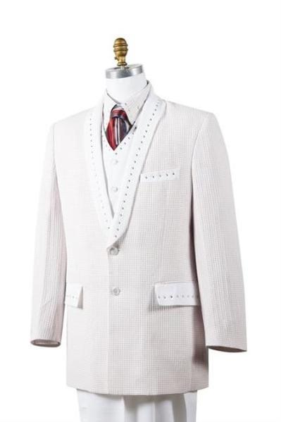 White Sharkskin Entertainer Four Piece Mens Suit, act now only $175.00