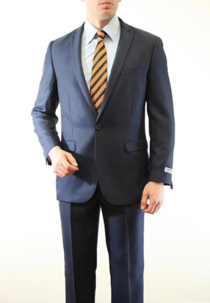 One Button Blue Two Piece Slim Fit Mens Suit, act now only $150.00