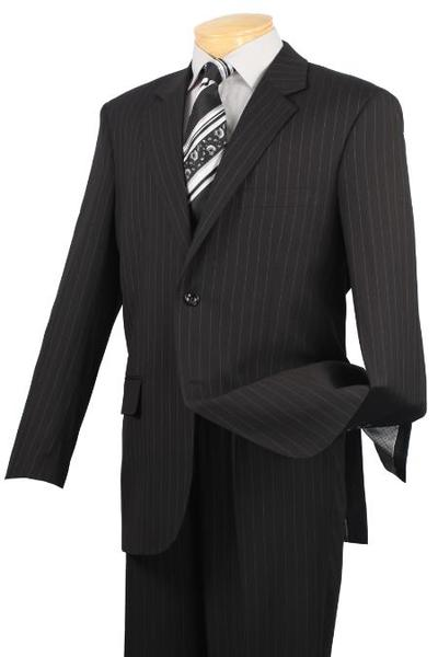 Two Button Style Liquid Jet Black Pinstripe Mens Suit, act now only $199.00