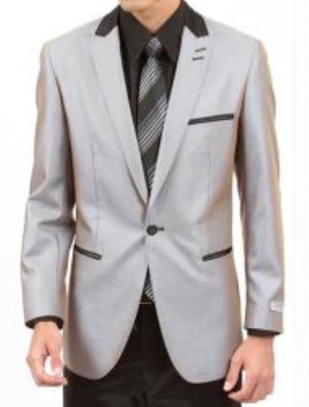 One Button Silver Two Piece Slim Fit Mens Suit, act now only $160.00