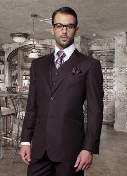 Two Button Style Mens Classic Vested Plum Suit, act now only $185.00