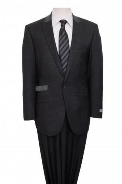 One Button Dark Grey Two Piece Peak Lapel Side Vents Suit, act now only $150.00