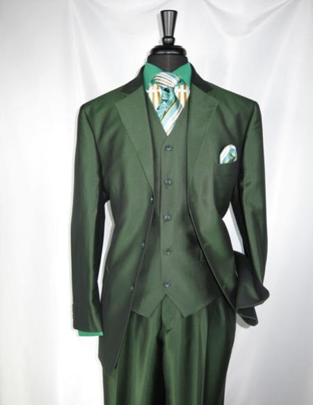 Single Breasted Mens Sharkskin Olive Green vested suit, act now only $139.00