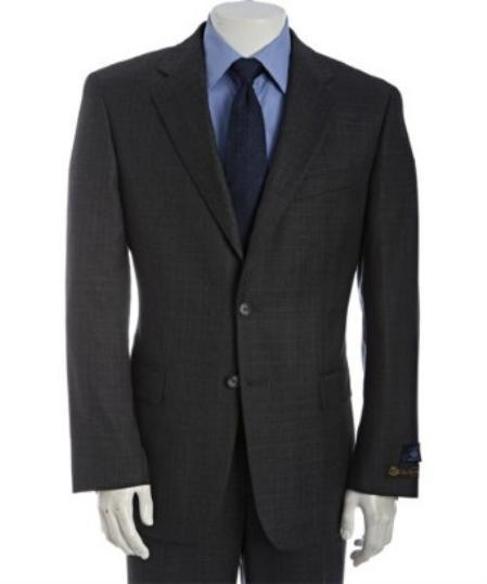 Dark Grey Mens Two Button Plaid Wool Fabric Suit, act now only $185.00