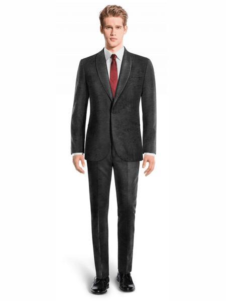 One Button Black Velvet Single Breasted Mens Suit, act now only $240.00