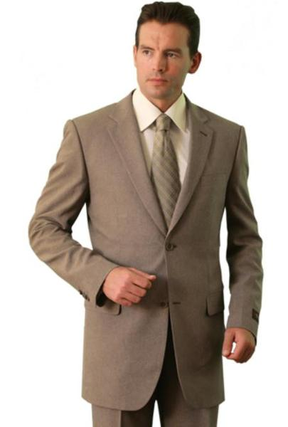 Tan Khaki three Button Style Polyester Suit For Mens, act now only $109.00