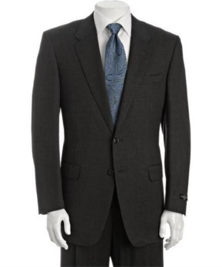 Two Button Dark Grey Superior Wool Fabric Mens Suit, act now only $225.00