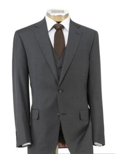 Mens Two Button Style Mid Grey Wool Fabric Vested Suit, act now only $199.00