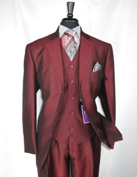Mens Single Breasted Sharkskin Burgundy vested suit, act now only $139.00