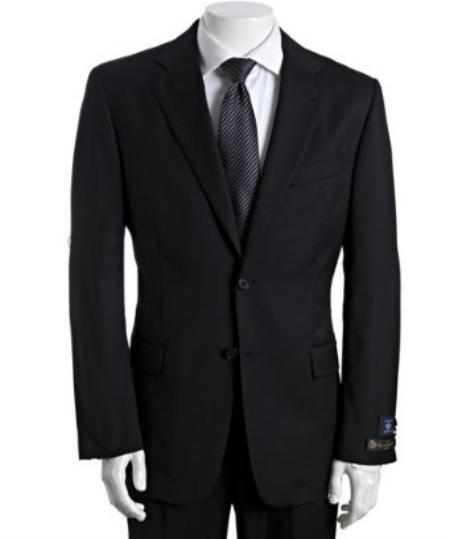 Two Button Liquid Jet Black Single pleated Suit For Mens, act now only $225.00