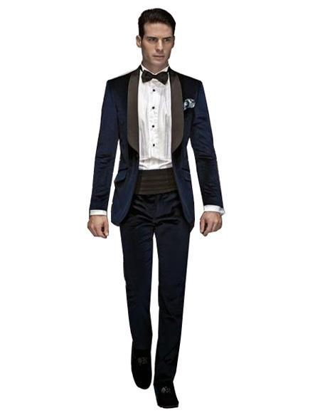 Buttons Closure Navy Blue Velvet Dinner Mens Wool Suit- SKU#VS101, act now only $250.00