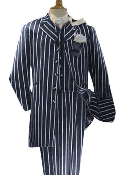 Three Piece Navy Blue White Pinstripe Zoot Suit For Mens, act now only $149.00