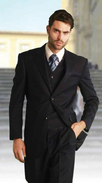 Two Button Style  Solid Navy Mens Italian Fabric Suit, act now only $225.00