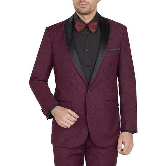 Mens Burgundy One Button Style Peak Lapel Suit, act now only $104.00