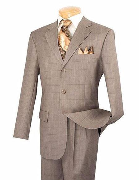 Three Buttons Tan Plaid Pattern Pleated Pants Mens Suits, act now only $149.00