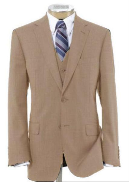 Two Button Style Beige Wool Fabric Suit For Mens, act now only $240.00