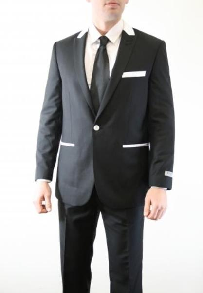 Black With White Single Button Peak Lapel Vested Mens Suit, act now only $165.00