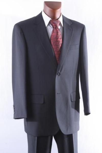 Two Button Style Liquid Jet Black 100% Wool Mens Suit, act now only $165.00