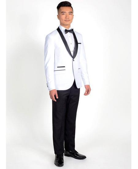 One Button White Black Single Breasted Slim Fit Mens Suit, act now only $199.00