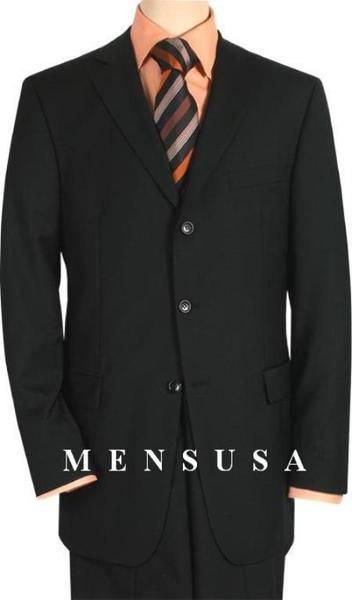Mens Solid Liquid Jet Black Comes in Three Button Style Wool Fabric Suit, act now only $199.00