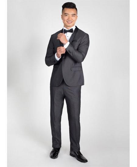 One Button Charcoal Side Vents Slim Fit Mens Tuxedo, act now only $199.00