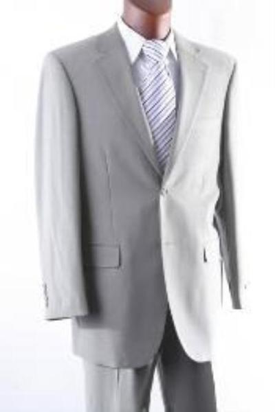 Two Button Style Gray Wool Fabric Single Pleat  Mens Suit, act now only $165.00