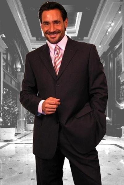 Three Button Mens Dark Grey Masculine Style Suit, act now only $139.00