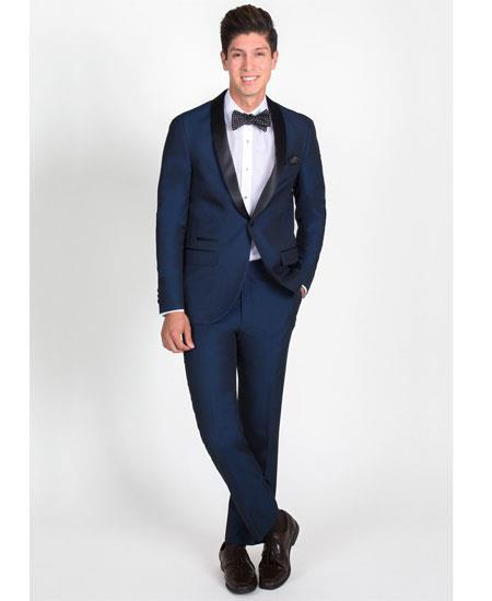 Navy Blue One Button Shawl Lapel Slim Fit Mens Tuxedo, act now only $165.00