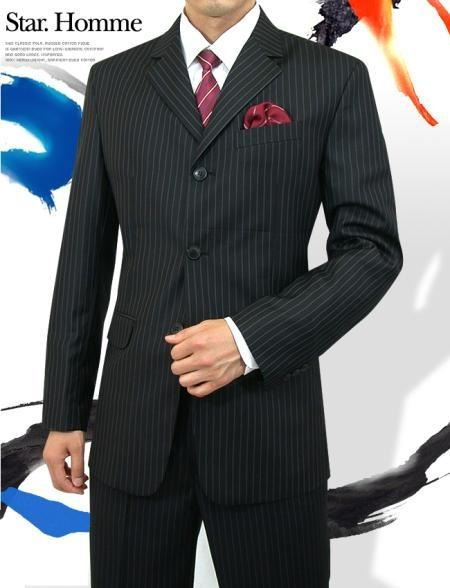 Mens Three Button Style Jet Black Pinstripe Light Weight Suit, act now only $125.00