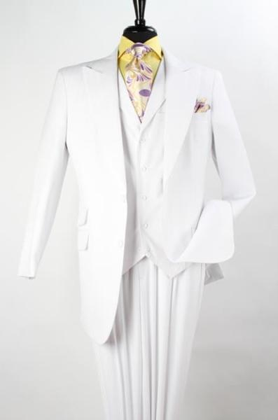 Mens White Pett Vested Three Piece Fashion Peak Lapel suit, act now only $160.00