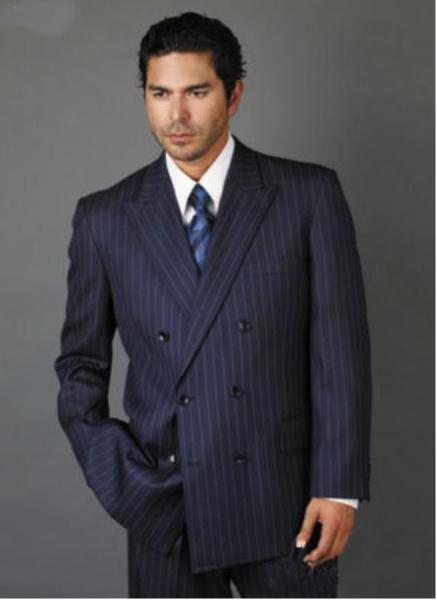 Double Breasted Smooth Stripe Mens Suit In Navy Blue, act now only $175.00