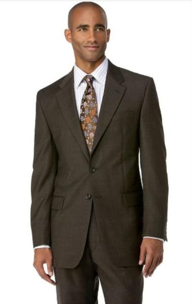 Mens Three Button Style Polyester affordable suit In Brown (CHECK BUTTON COUNT), act now only $109.00