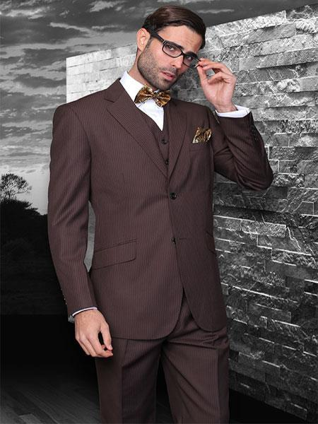 Mens Two Button Style Italian Fabric Suit In Brown, act now only $175.00