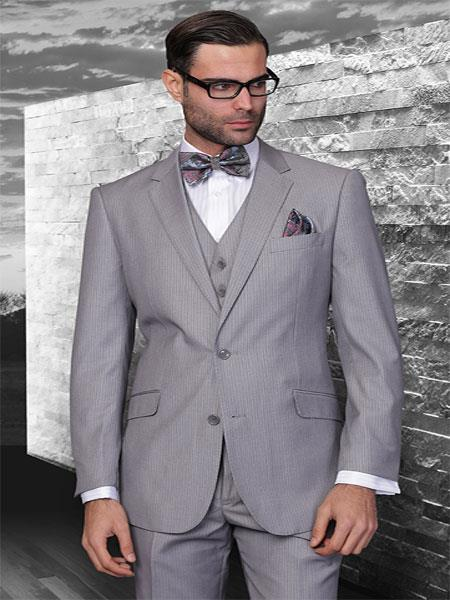 Light Gray Two Button Style Italian Fabric Suit For Mens, act now only $175.00