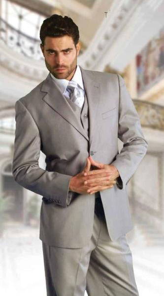 Mens Two Button Style Italian Three Piece Suit In Grey, act now only $225.00