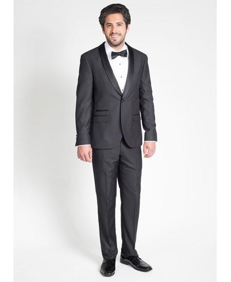 One Button Mens Black Single Breasted Slim Fit Suit, act now only $199.00